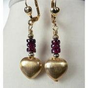 Palmtree Gems Giata' Brushed Gold Dangle Heart Earrings