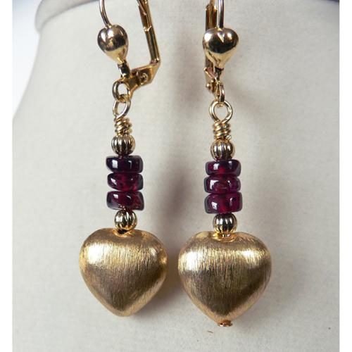 Palmtree Gems Giata' Brushed Gold Dangle Heart Earrings