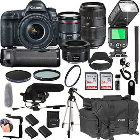 Canon EOS 5D Mark IV With 24-105mm f/4 L IS II USM + 50mm 1.8 STM + Tamron 70-300mm + 128GB Memory + Pro Battery Bundle + Power Grip + Microphone + TTL SpeedLight + Pro Filters,(25pc Bunle)