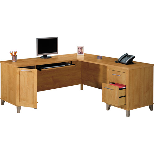 "Bush Somerset Collection 71"" L-Shaped Desk, Maple Cross (Box 1 of 2)"