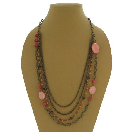 Antiqued Gold Tone Multistrand Layered Chain and Red Pink Beaded Necklace