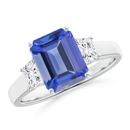 December Birthstone Ring - Three Stone Emerald-Cut Tanzanite and Diamond Ring in 14K White Gold (9x7mm Tanzanite) - SR1049TD-WG-AA-9x7-5