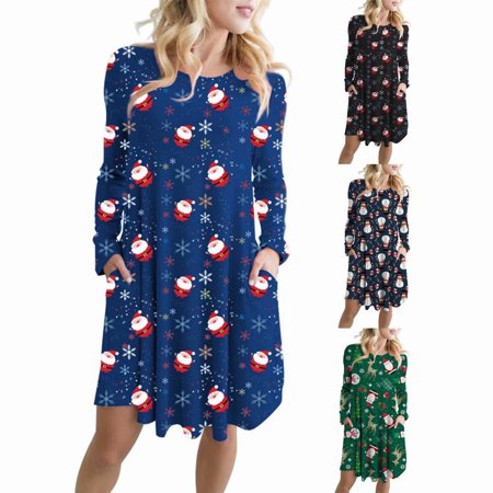 Women Vintage Xmas Santa Snowman Print Long Sleeve Evening Party Dress Swing Skater Midi Dress Top,Black - Cute Santa Dresses