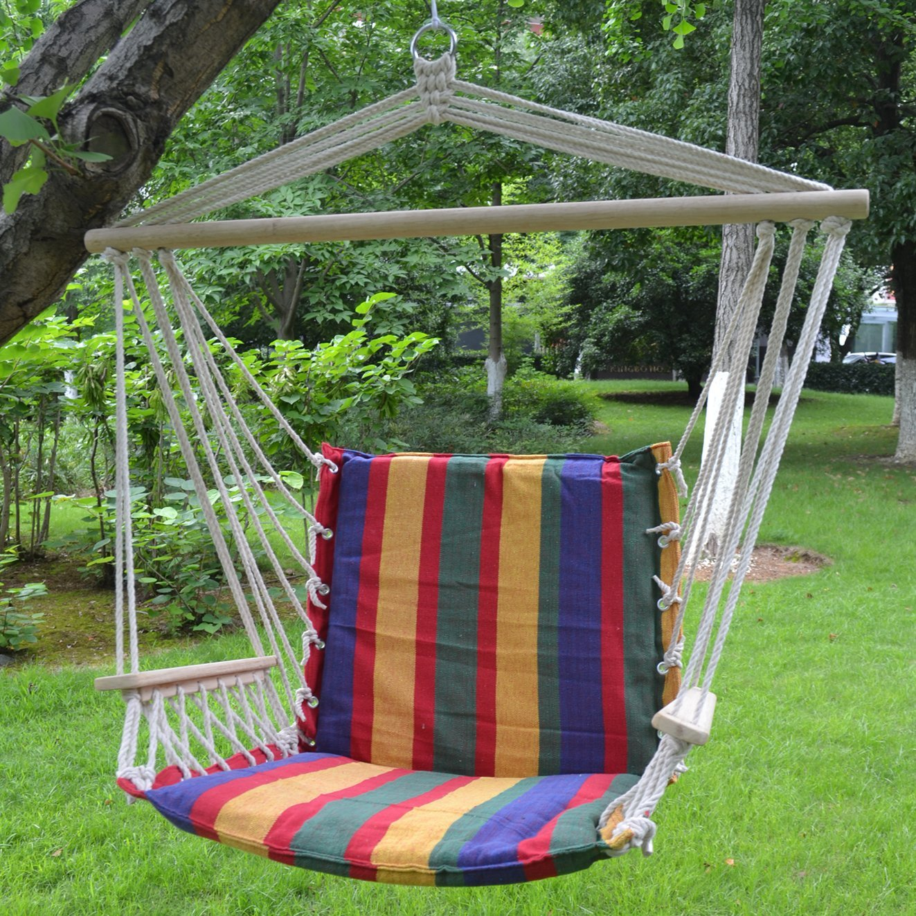 STRONG CAMEL New Cotton Hanging Air Chair Hammock Porch Swing Stripe  Colorful Max Weight Capacity Of