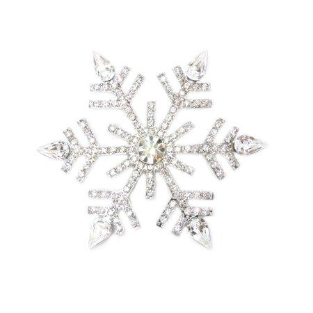 Faship Clear Big Snowflake Pin Brooch - Clear Blue Sapphire Gold Brooch