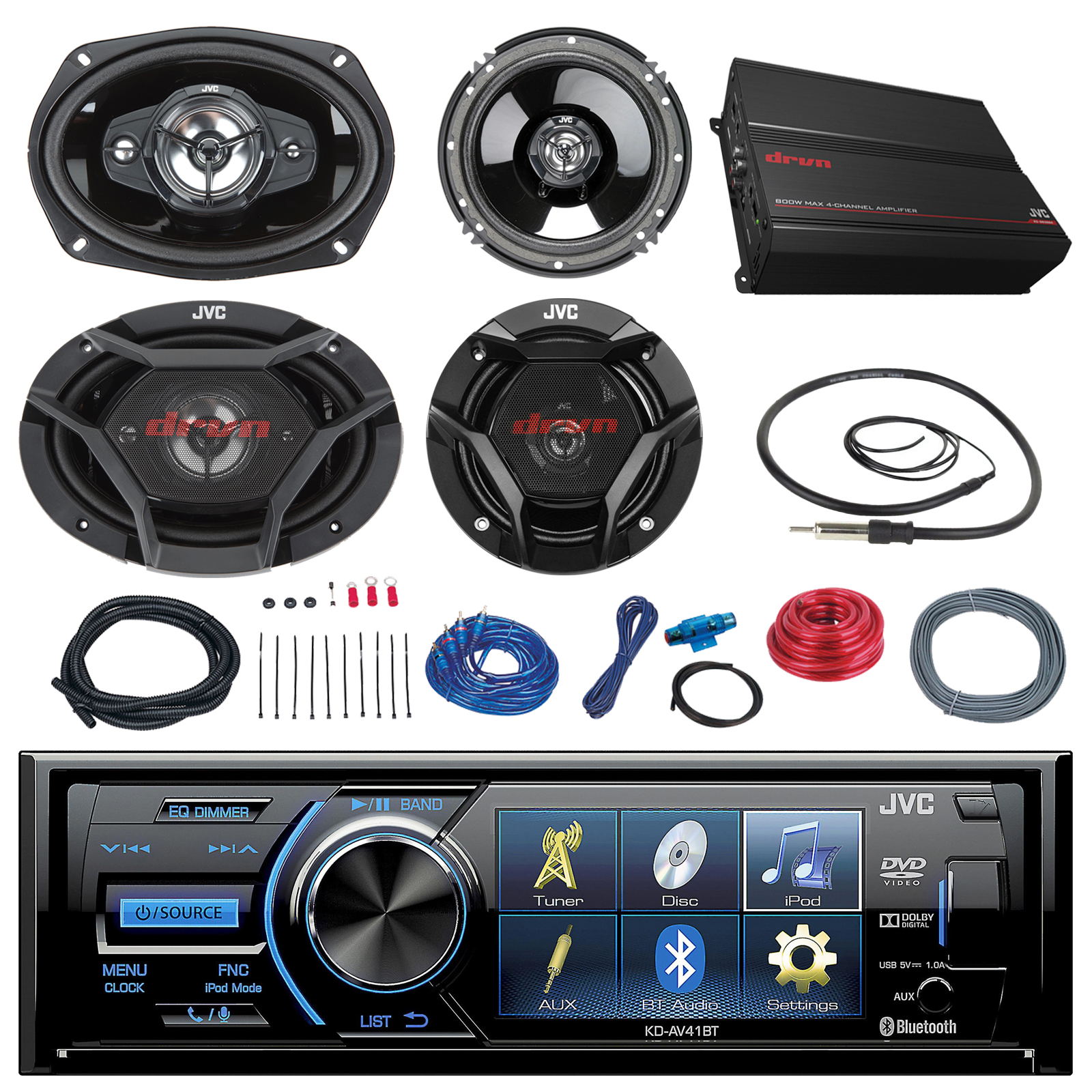 "JVC KD-AV41BT 3"" Car DVD Bluetooth Stereo Receiver Bundle Combo With 2x Dual 6.5"" 2-Way And 2x 6x9"" Inch 4-Way Coaxial Speakers + 1000-Watt 4-Channel Amplifier With Install Kit + Enrock AM/FM Antenna"