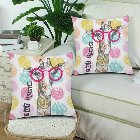 GCKG Hipster Giraffe Bright Giraffe Glasses Throw Pillow Covers 18x18 inches Set of 2 - image 1 of 3