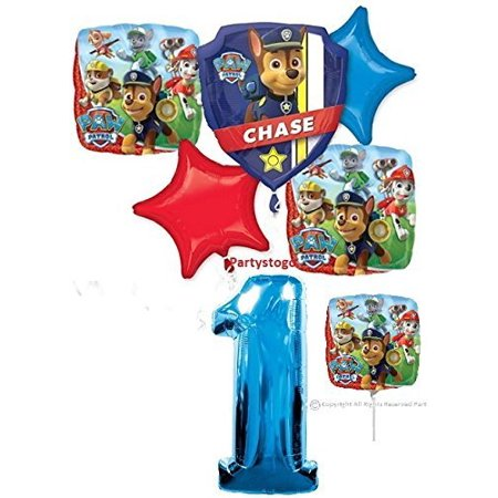 PAW PATROL 1ST BIRTHDAY BALLOONS WITH MINI SHAPE PARTY BOUQUET DECORATIONS CHASE MARSHALL1st Birthday