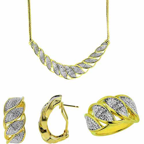 """1/4-Carat T.W. Round White Diamond Rhodium-plated Ring, Earrings and Necklace Set, 17"""", Size 7"""