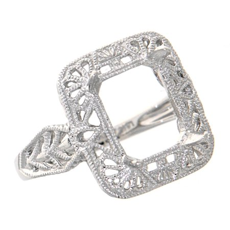 Antique Victorian Style Semi - Mount Ring - 14kt White Gold (7) ()