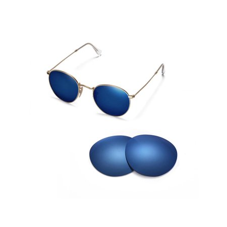 4be8675da3 Walleva - Walleva Ice Blue Polarized Replacement Lenses for Ray-Ban Round  Metal RB3447 50mm Sunglasses - Walmart.com