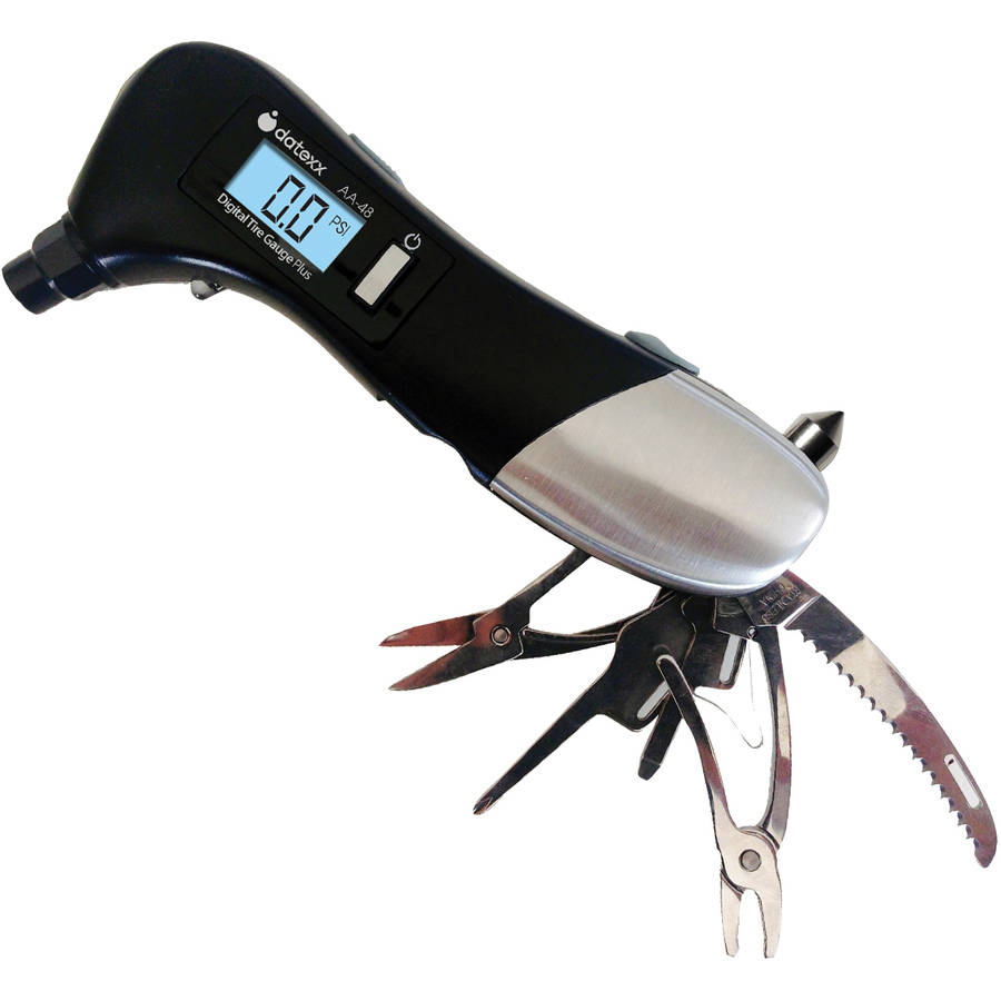 Auto Emergency Tool with Glass Hammer,Tire Gauge and LED light and tools