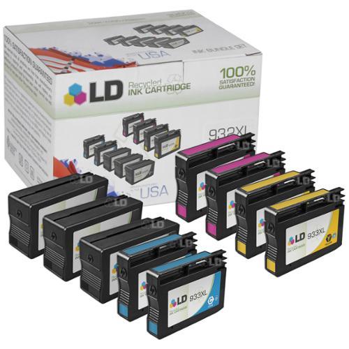 LD Remanufactured Replacements for Hewlett Packard 932XL / 932 / 933XL / 933 9PK Ink Cartridges: 3 CN053AN B, 2 CN054AN C, 2 CN055AN M, & 2 CN056AN Y for HP OfficeJet 6100, 6600, 6700, 7110, 7610