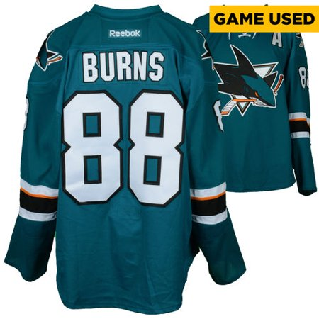 new products aeae9 9ec7e Brent Burns San Jose Sharks Game-Used Home Teal  88 Jersey used vs. Calgary  Flames on April 8, 2017 - Size 58 - Walmart.com
