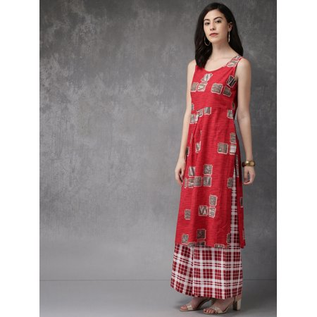 Anouk by Myntra Women Red & Off-White Printed Kurta with Palazzos - image 4 de 6