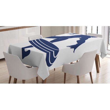 Superhero Tablecloth, Muscle Man Hero Throws Frisbee Weapon Muscular Silhouette Disc Sports Theme, Rectangular Table Cover for Dining Room Kitchen, 52 X 70 Inches, White Navy Blue, by Ambesonne