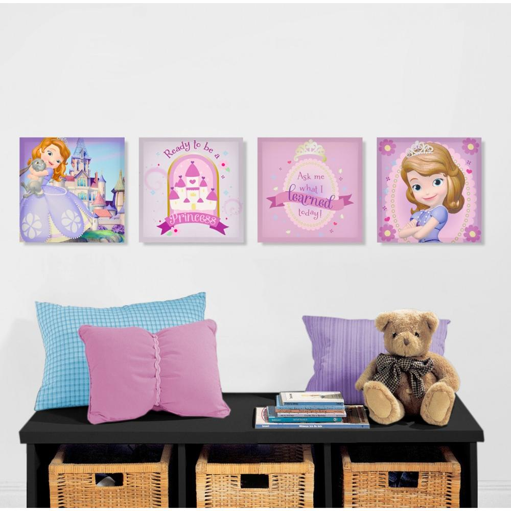 Extraordinary 60 disney princess canvas wall art decorating disney princess canvas wall art disney sofia the first 4 pack canvas wall art amipublicfo Image collections