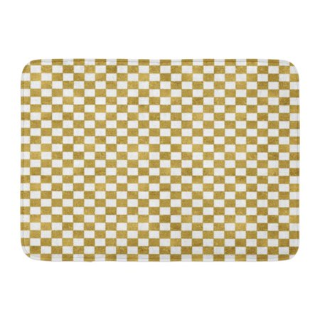 YUSDECOR Box White Abstract Modern in Gold Checkerboard Pattern Announcement Celebration Rug Doormat Bath Mat 23.6x15.7 inch - image 1 of 1