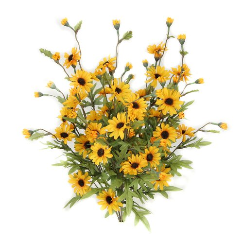 August Grove 6 Stems Artificial Full Blooming Daisy Flowers, Flower Buds and Greenery