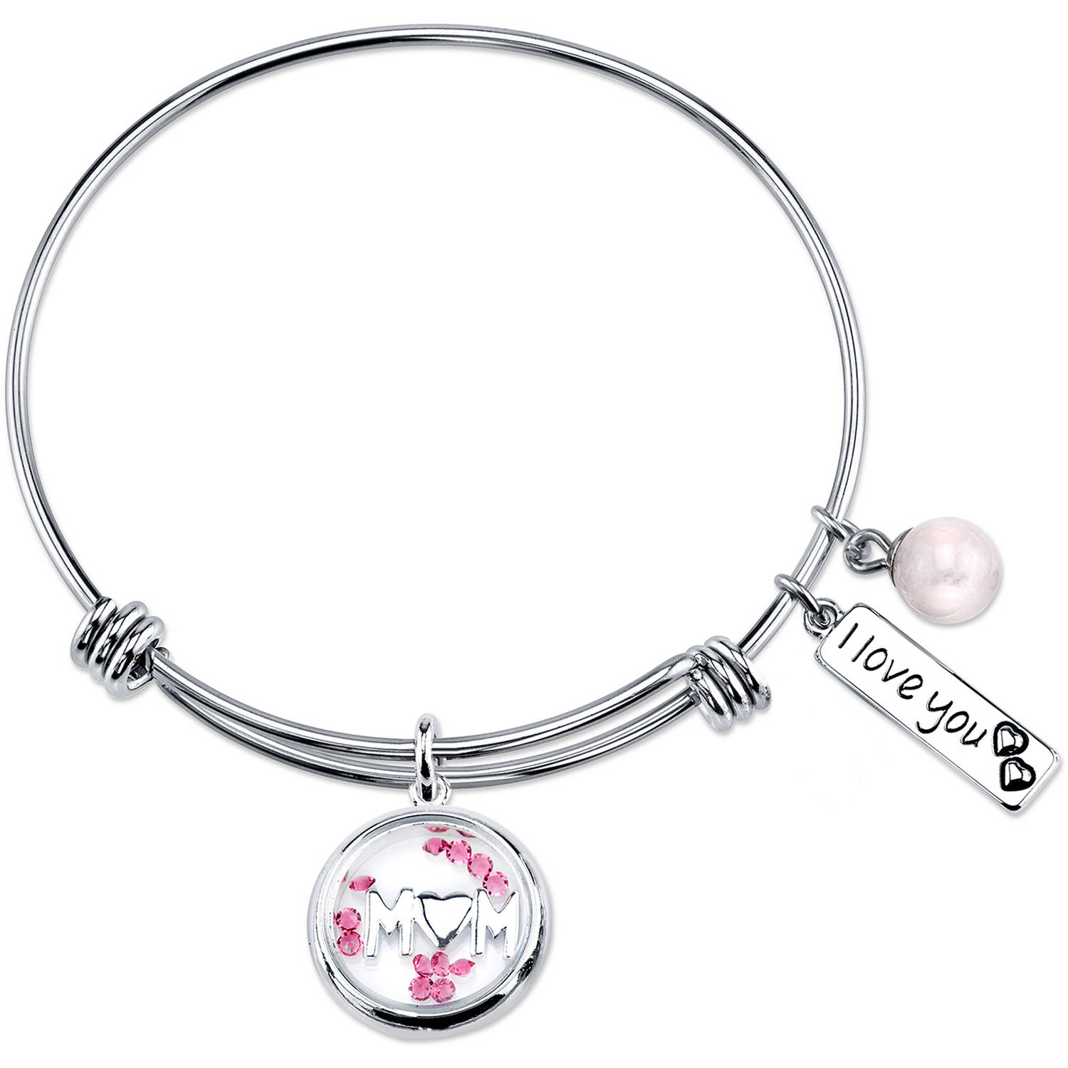 "8mm Rose Quartz Pink Crystal Stainless Steel ""Mom I love you"" Bead Bangle Bracelet, 8"""