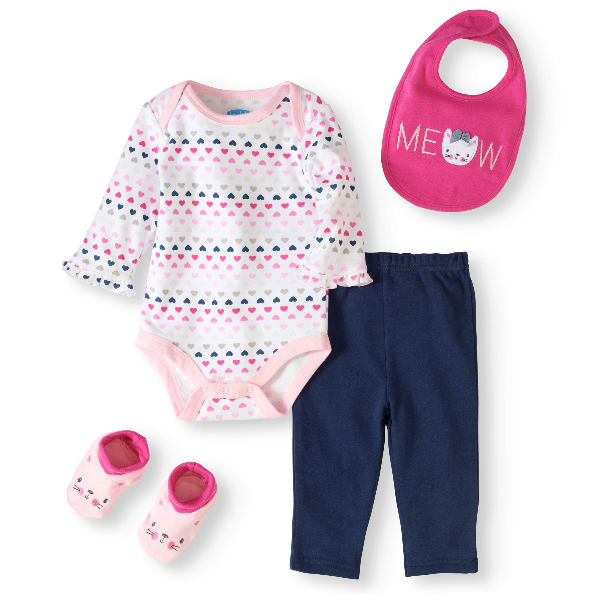 Newborn Baby Girl Bodysuit, Pants, Bib & Booties, 4pc Outfit Set