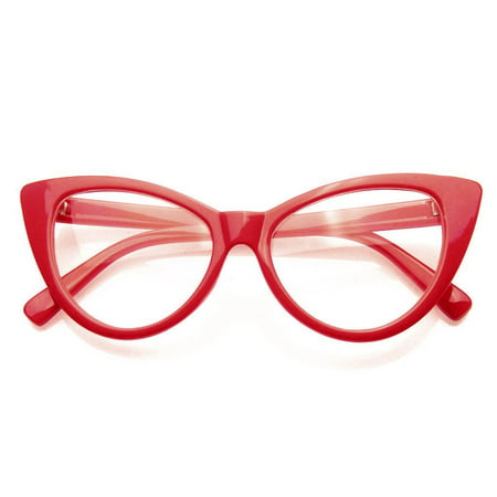 Emblem Eyewear - Super Cat Eye Glasses Vintage Fashion Mod Clear Lens Eyewear (Red, 0) ()
