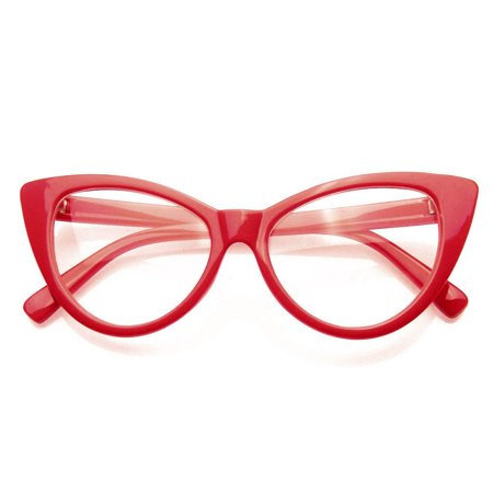 Emblem Eyewear - Super Cat Eye Glasses Vintage Fashion Mod Clear Lens Eyewear (Red, 0)](Novelty Glasses With Eyes)