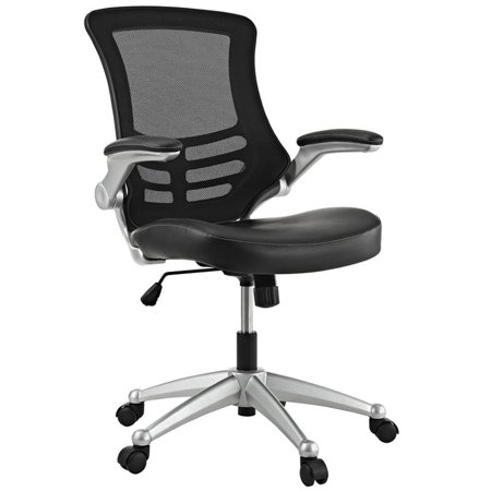 Hawthorne Collection Faux Leather Mesh Office Chair in Black