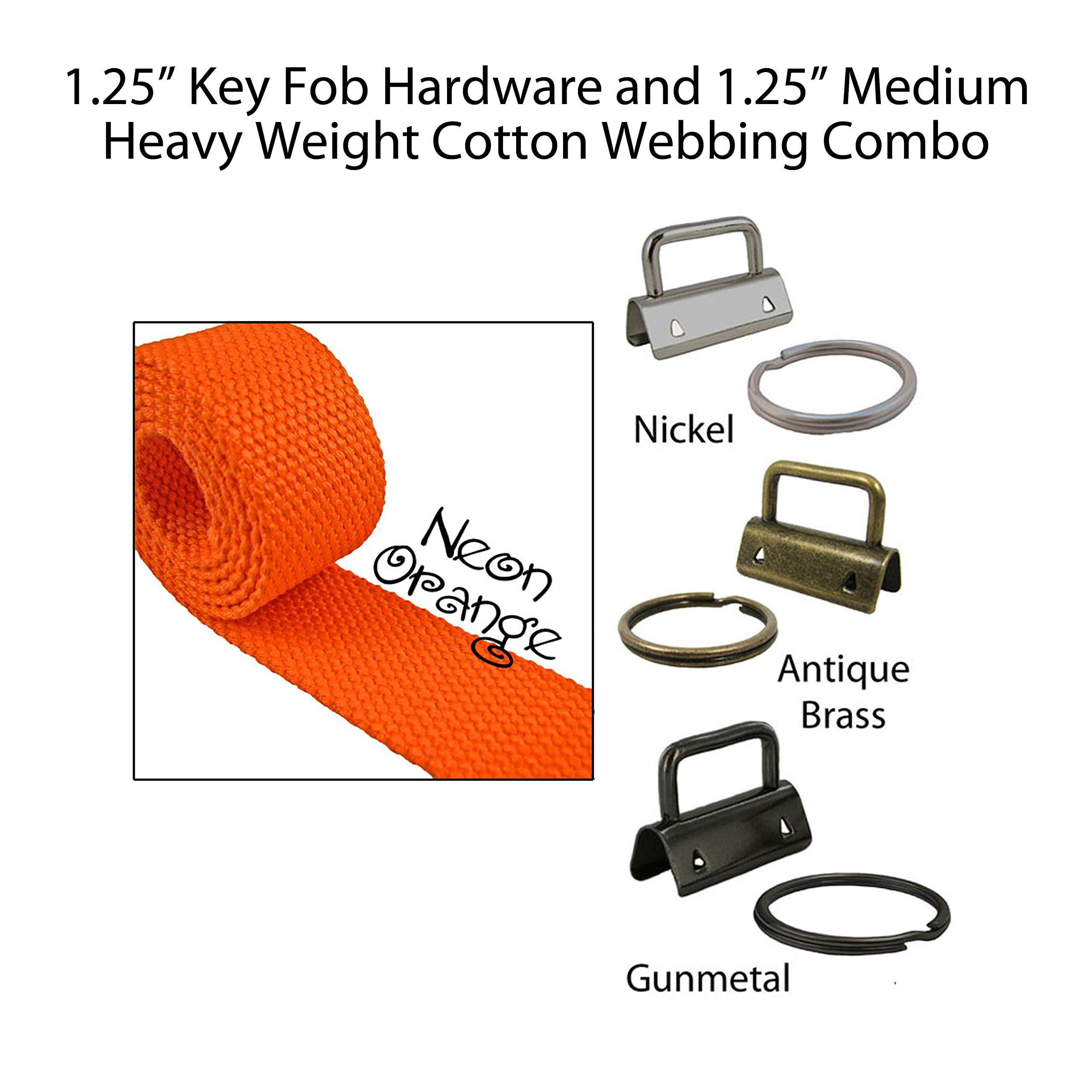 "1.25"" Key Fob Hardware and 1.25"" Cotton Webbing Combo - Neon Orange"