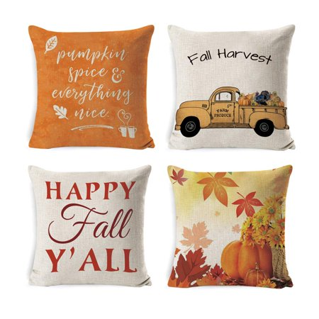 Wendana Decorative Throw Pillow Covers for Couch, Sofa, or Bed Set of 4 18 x 18 inch Fall Theme Farmhouse Cotton Linen Cusion Cover (Thanksgiving Day 1) ()
