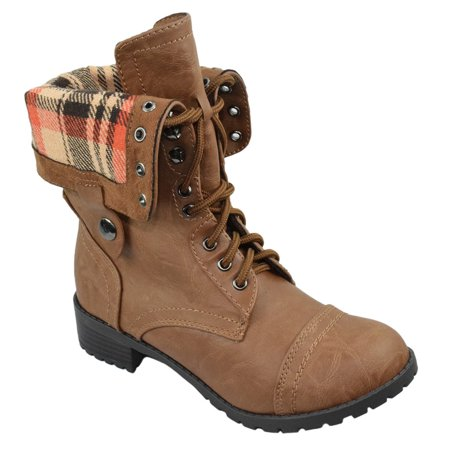 Oralee Tan Brown Soda Women Combat Army Motorcycle Riding Flat Fold-able Boots