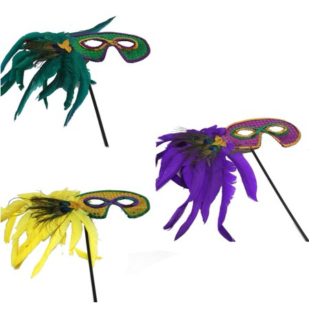 Mardi Gras Stick Mask With Feathers - Mardi Gras Mask On A Stick