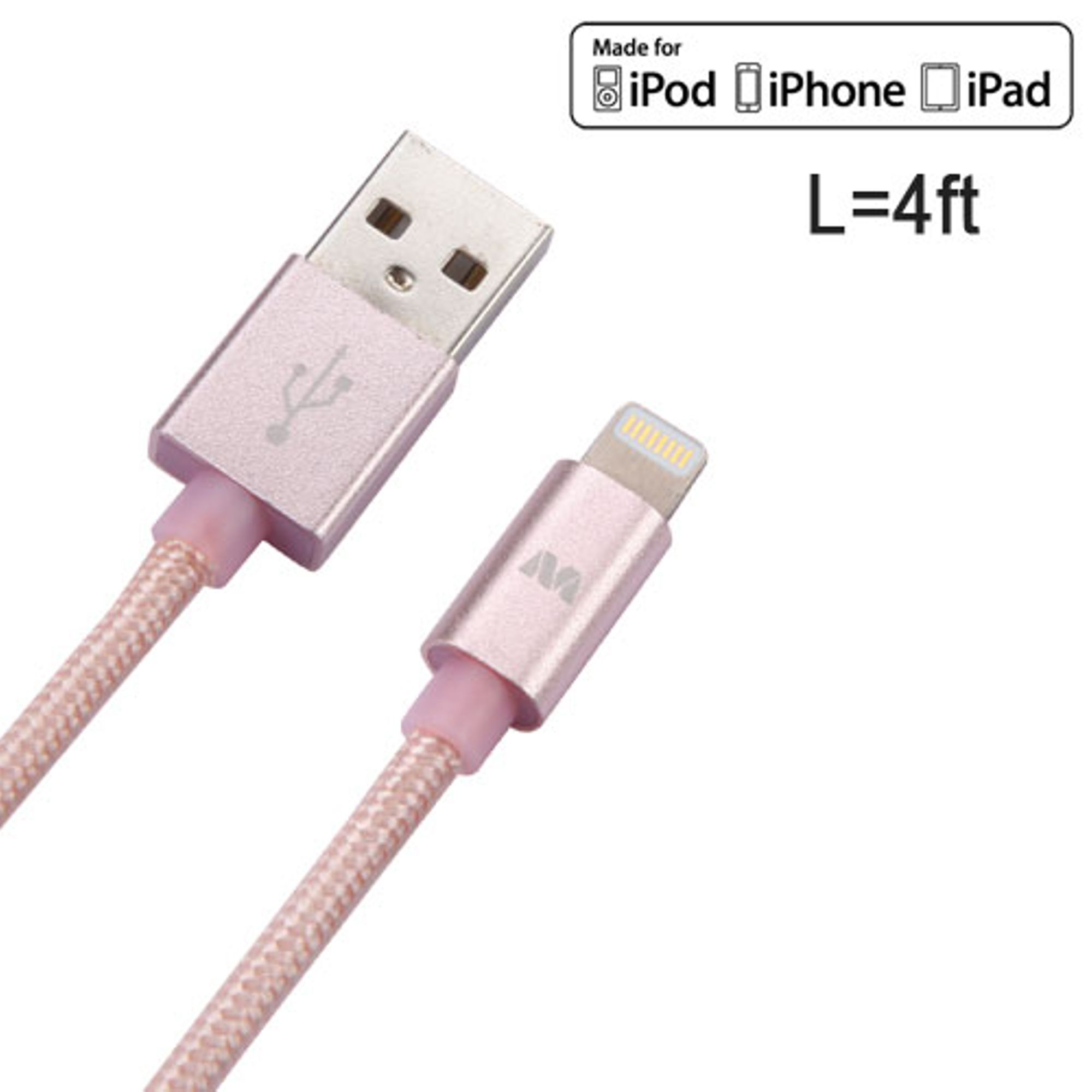 Insten 4ft Nylon Braided USB A to Lightning Cable Charging Cord Apple MFi Certified for iPhone X XS 8 7 6 6s Plus SE 5S iPod Touch 5th 6th generation iPad Mini Air Pro
