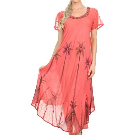 Sakkas Watercolor Palm Tree Tank Caftan Dress - Coral - One - Water Color Dress