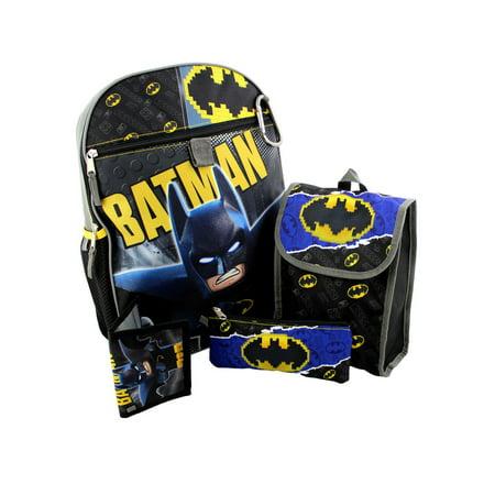 c2408568db Boys LEGO Batman Backpack Lunch Bag, Pencil Case, Carabiner & Wallet 5PC Set  ...