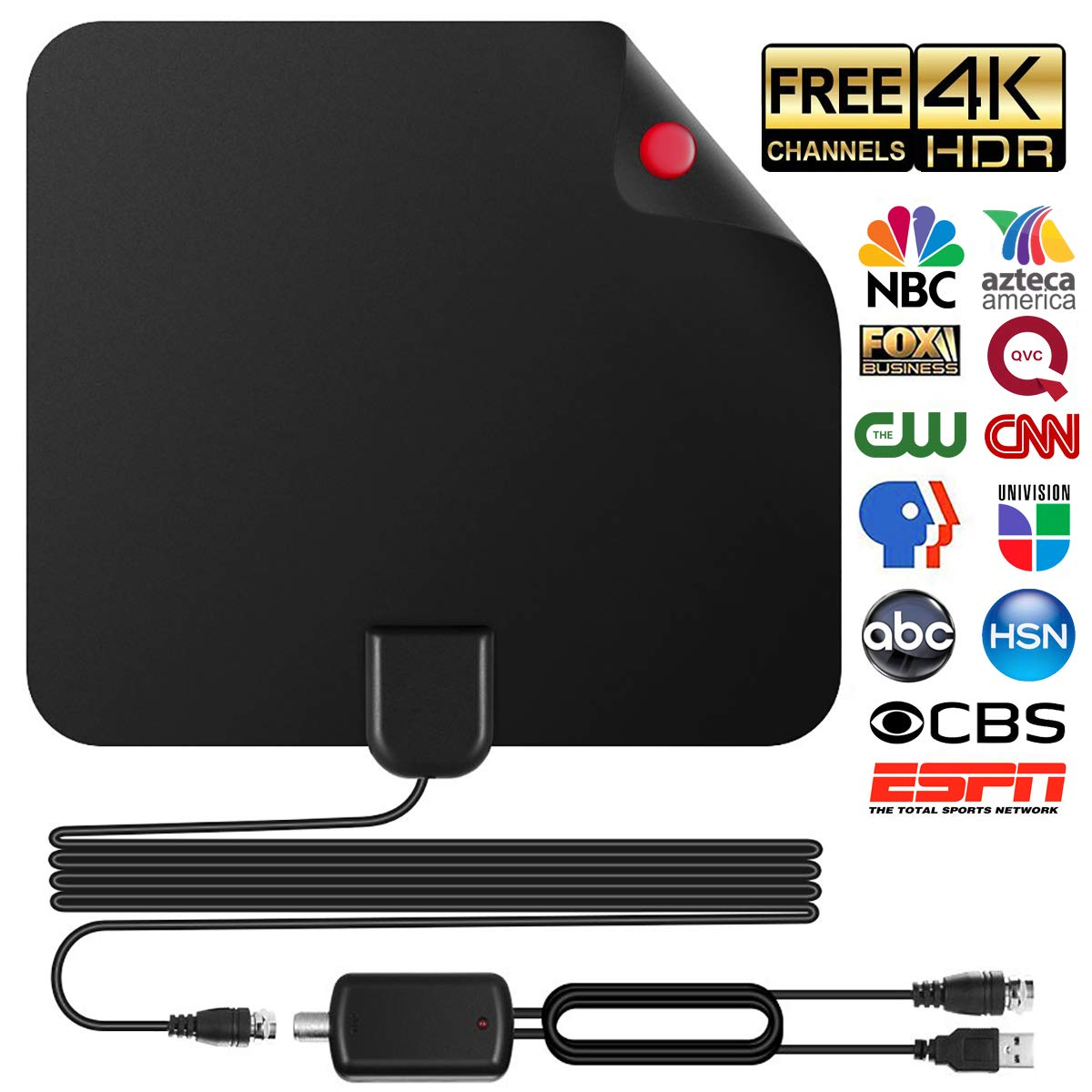 Skywire TV Antenna for Digital TV Indoor, Amplified HD Digital TV Antenna with 120 Miles Long Range, Support 4K 1080p & All Older TV's for Indoor with Powerful HDTV Amplifier