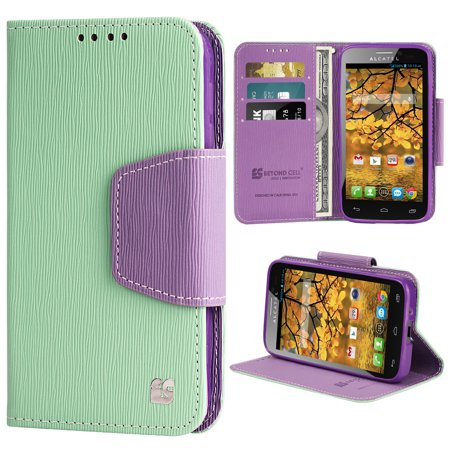 Mint Purple Infolio Wallet Credit Card Case For Alcatel One Touch Fierce 7024W