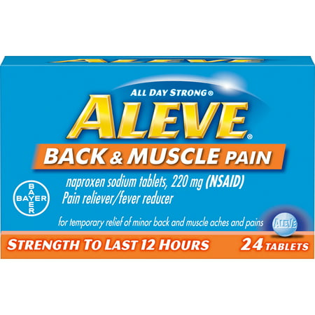 Aleve Back & Muscle Pain Reliever/Fever Reducer Naproxen Sodium Tablets, 220 mg, 24 (Best Over The Counter Medicine For Back Muscle Pain)
