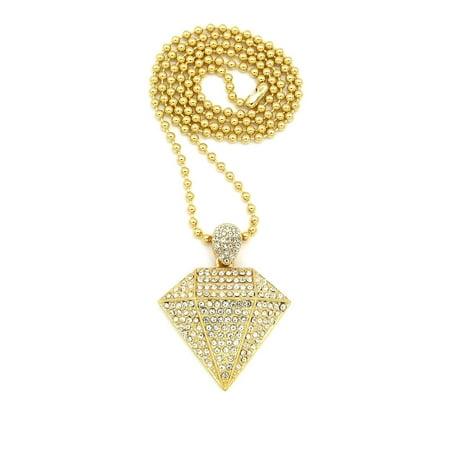 Iced Out Gold Tone Diamond Shape Pendant 3mm 27