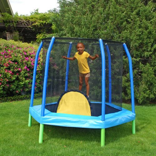 Bazoongi 7' Hexagonal Kids Combo Trampoline and Enclosure