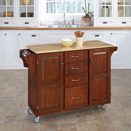 Home Styles Create a Kitchen Cart, Cherry with Wood Top ...