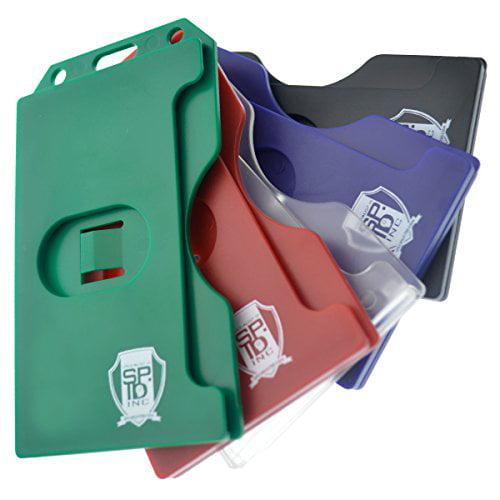 5 Pack Specialist ID Multiple Card ID Badge Holders Heavy Duty Rigid   Hard Plastic (Black) by