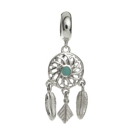 - Sterling Silver Enamel Dream Catcher Flower Feather European Style Dangle Bead Charm Fits Pandora