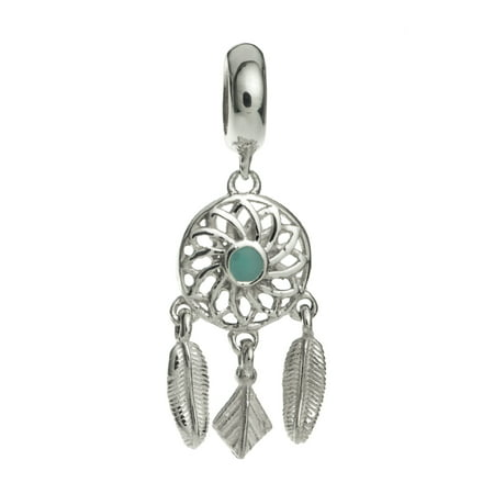 Sterling Silver Enamel Dream Catcher Flower Feather European Style Dangle Bead Charm Fits