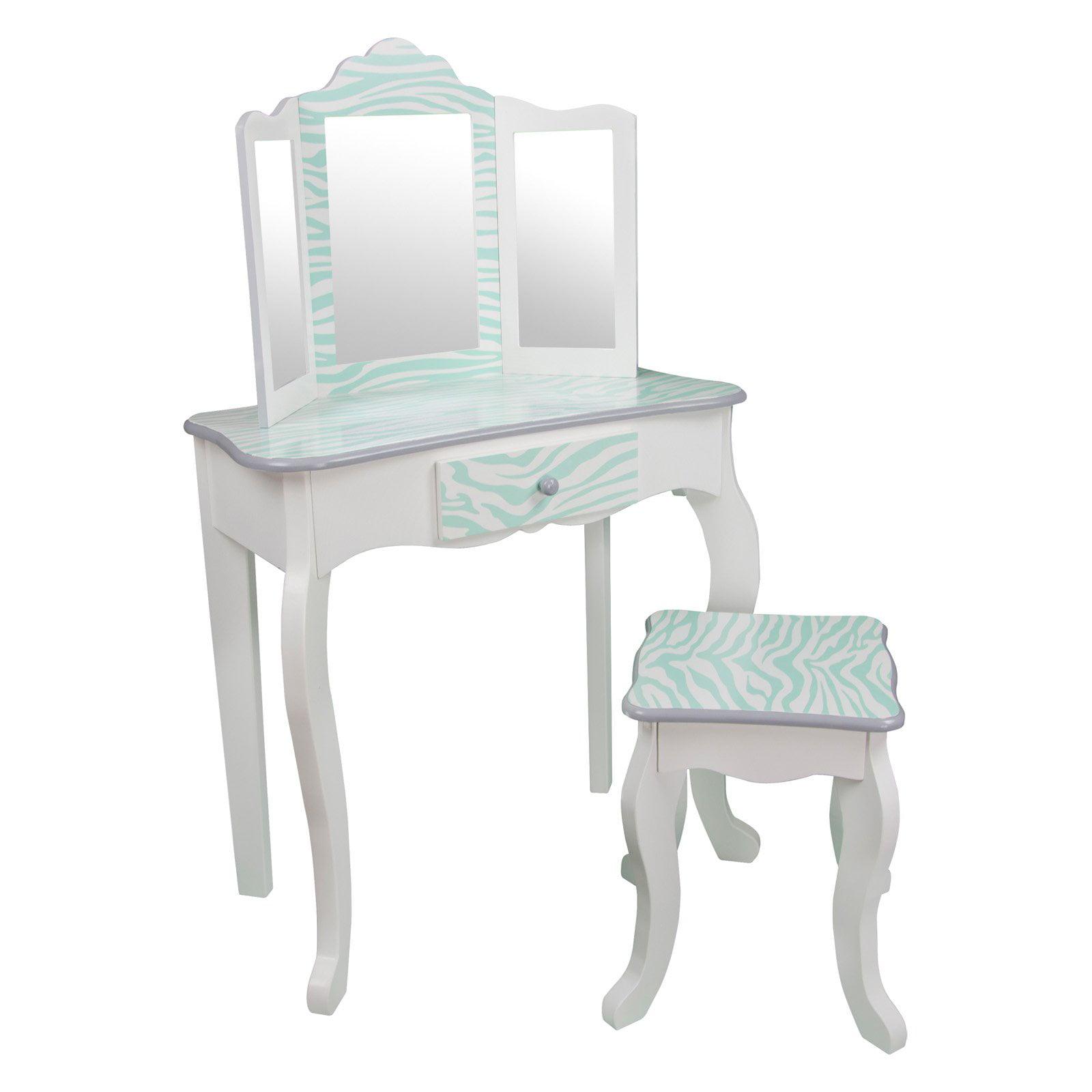Teamson Kids Fashion Prints Vanity Table And Stool Set With Mirror Zebra Aqua Blue White