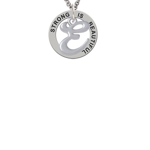 Small Gelato Script Initial - E - Strong Is Beautiful Affirmation Ring Necklace
