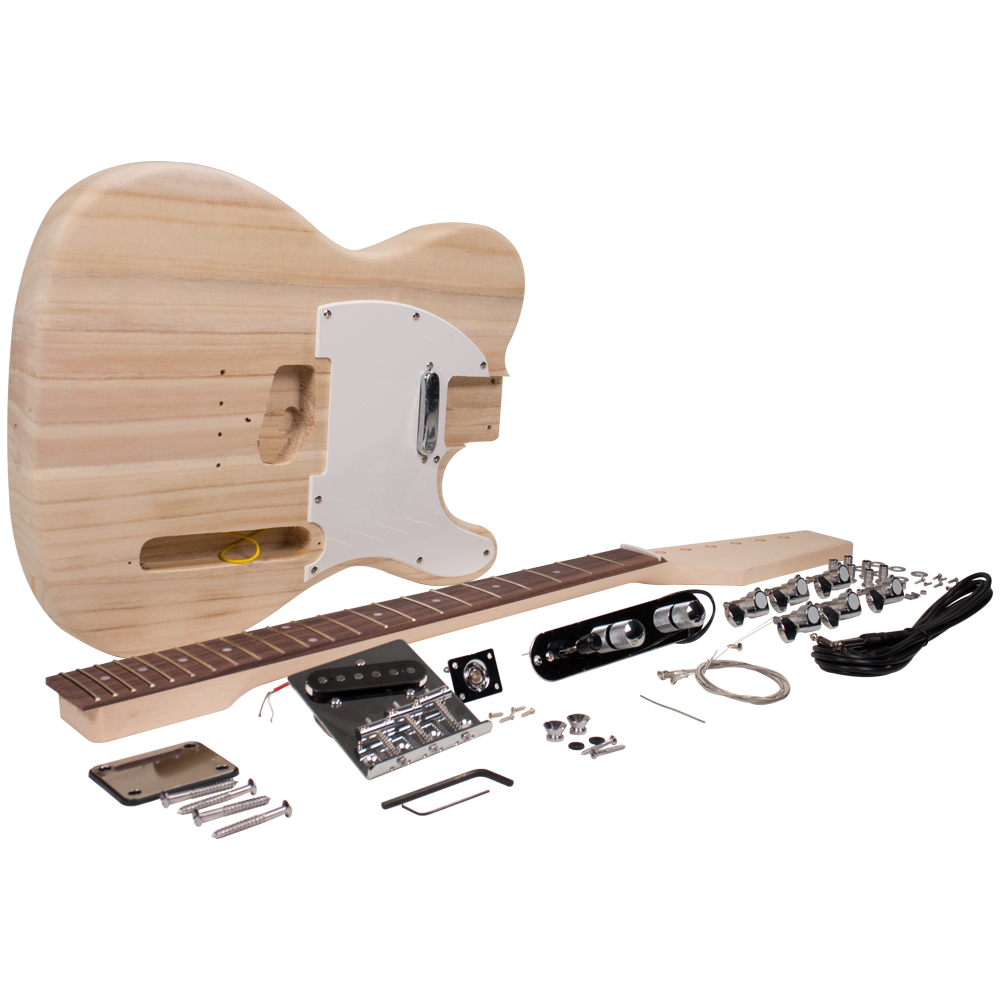 Seismic Audio Premium Tele Style DIY Electric Guitar Kit - Unfinished Luthier Project Kit - SADIYG-02