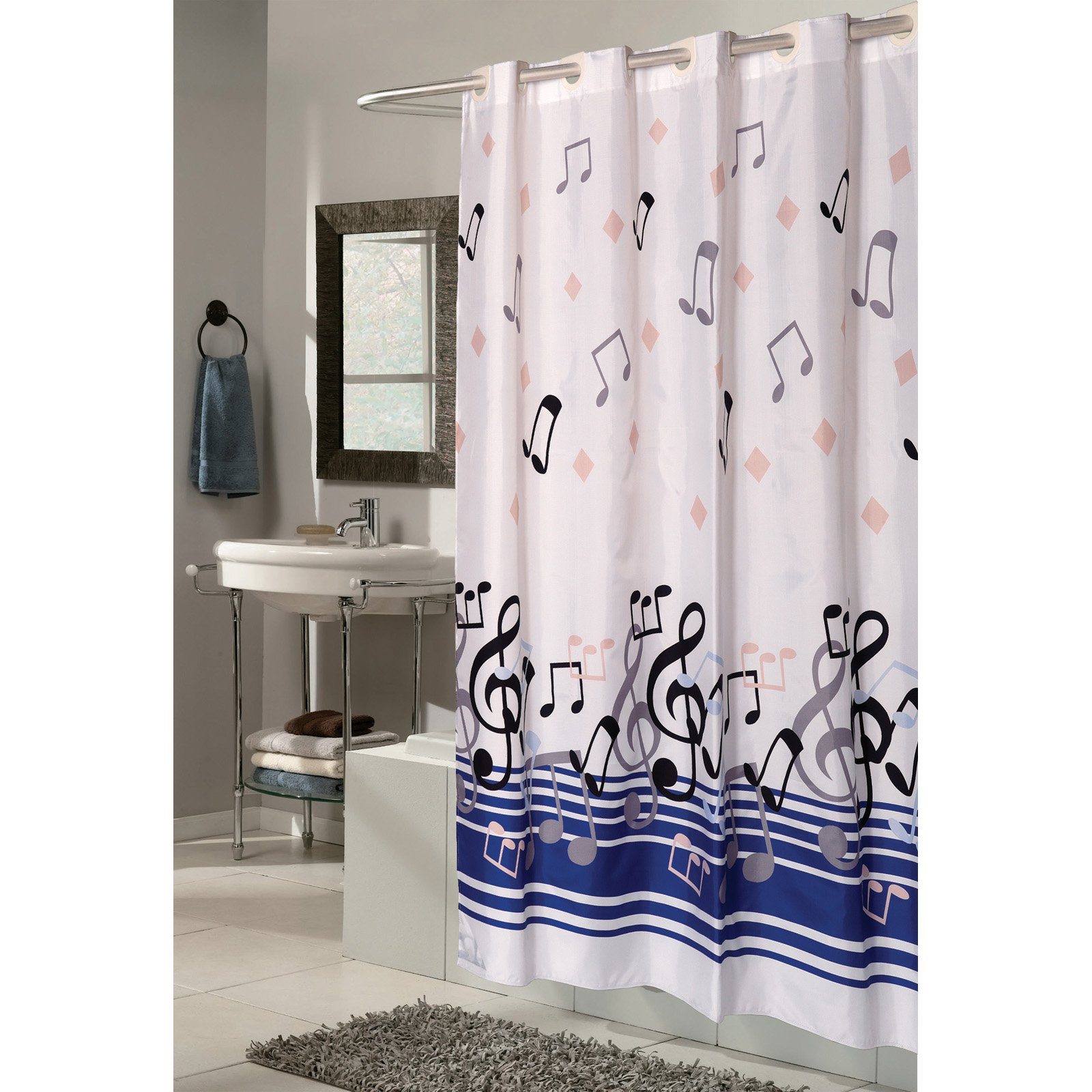 Ez On Fabric Shower Curtain With Built In Shower Curtain Hooks Extra Wide Size 108 Wide X 72 Long Pattern Name Blue Note
