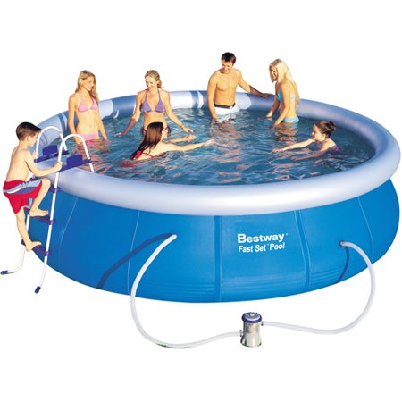 bestway fast set pool set 15 foot x 4. Black Bedroom Furniture Sets. Home Design Ideas