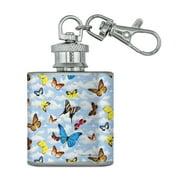 Butterflies in the Blue Sky Pattern Stainless Steel 1oz Mini Flask Key Chain